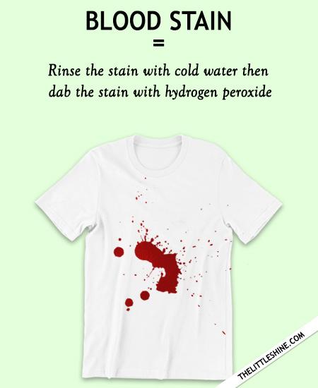 BLOOD - lemon juice, baking soda or  hydrogen peroxide