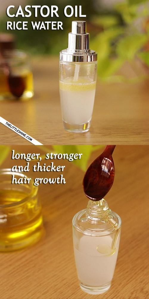 CASTOR OIL RICE WATER HAIR SPRAY for thicker hair growth